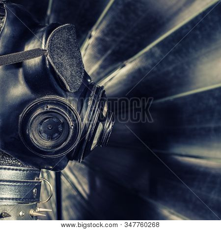 Close Up Bdsm Outfit. Bondage, Kinky Adult Sex Games, Kink And Bdsm Lifestyle Concept With Gas Masko