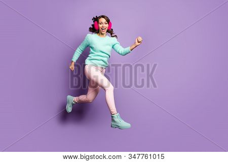 Full Length Photo Of Funky Lady Jumping High Up Excited Good Mood Rushing Sale Sopping Center Wear F