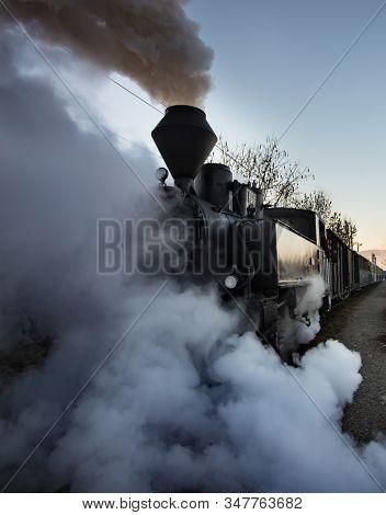 Viseu de Sus, Maramures, Romania-December 1, 2019 - Steam train knowed as Mocanita from North Romania