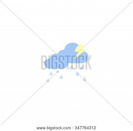 Design Flat Vector Icons: Cloudy Weather With Rain And Thunderstorm. Vector Weather Icon For Smartph