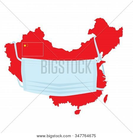 Wuhan Corona Virus Spread Concept With Chinese Flag Illustration . China Pathogen Respiratory Corona