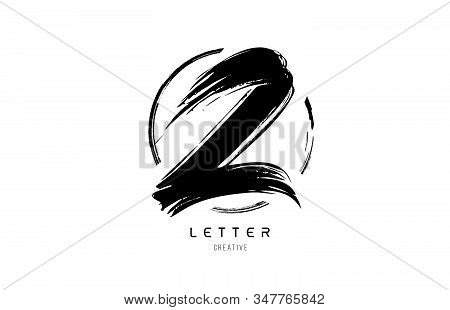 Handwritten Grunge Z Brush Stroke Letter Alphabet Logo Icon Design Template With Circle In Black And
