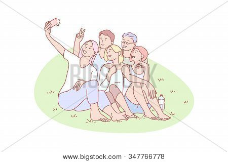 Selfie, Friend, Gathering, Joy, Rest, Concept. Resting Mates Gathering For Selfie Together Outdoor.