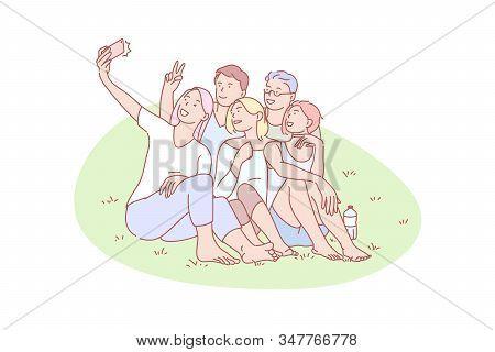 Selfie, Friend, Gathering, Joy, Rest, Concept. Resting Mates Gathering For Selfie Together Outdoor.