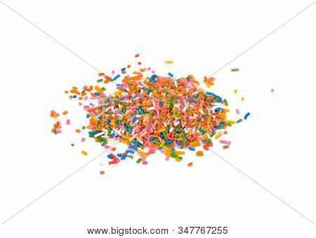 Pile Of Colorful Sprinkle Decoration Sugar On White Background