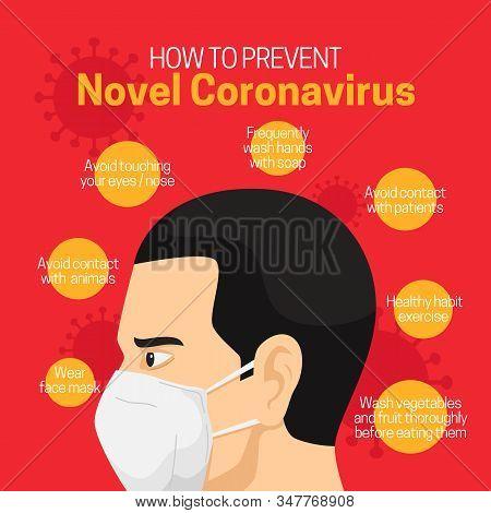 How To Prevent Novel Coronavirus Infographic Poster Background Design With Man Wearing Face Masker V