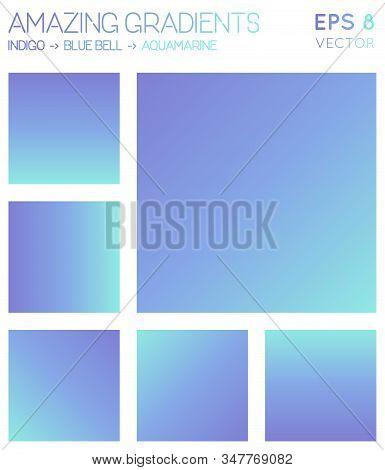 Colorful Gradients In Indigo, Blue Bell, Aquamarine Color Tones. Adorable Background, Likable Vector