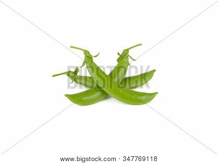 Whole Fresh Sugar Snap Peas With Stem On White Background