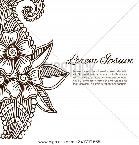 Luxury Oriental Floral Ornament In Indian Mehndi Style On White Background, Vector Illustration. Abs