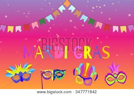 Carnival Or Mardi Gras Banner With Cartoon Masks And Flags Masquerade Vector Illustration. Venetian