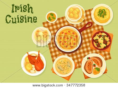Irish Cuisine Dishes, Vector. Fish, Meat And Vegetables. Potato Pancake Farls And Cookies, Fish Soup