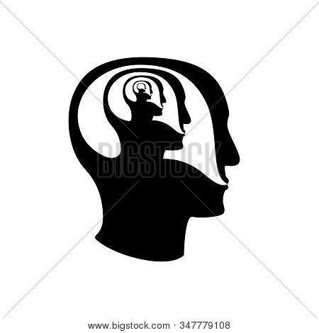 Psychoterapy Mental Talk Inside Human Head Icon