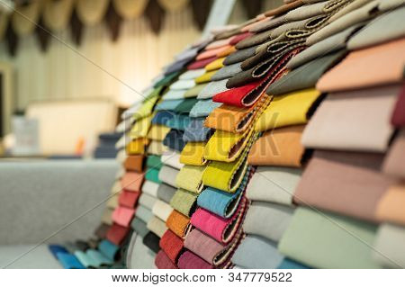 Upholstery Fabric Samples. Fabric For A Furniture Upholstery. Textile Industry Background.