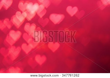 Red Heat Passionate And Glamour Bright Bokeh Background.heart Shaped Bokeh Red Abstract Background B