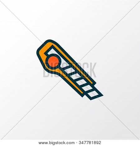 Utility Knife Icon Colored Line Symbol. Premium Quality Isolated Cutter Element In Trendy Style.