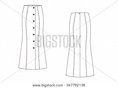 Maxi Skirt Vector Template Isolated On A White Background. Front And Back View. Outline Fashion Tech