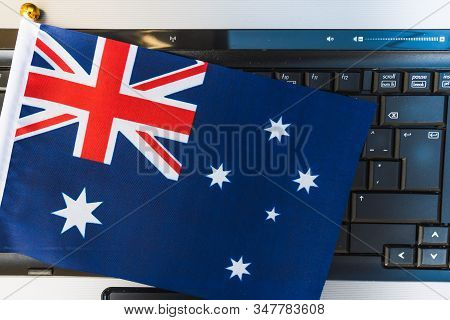 Flag Of Australia On Computer, Laptop Keyboard