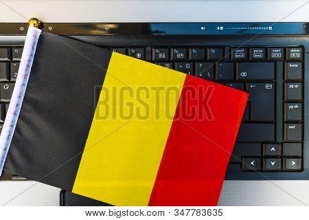 Flag Of Belgium On Computer, Laptop Keyboard
