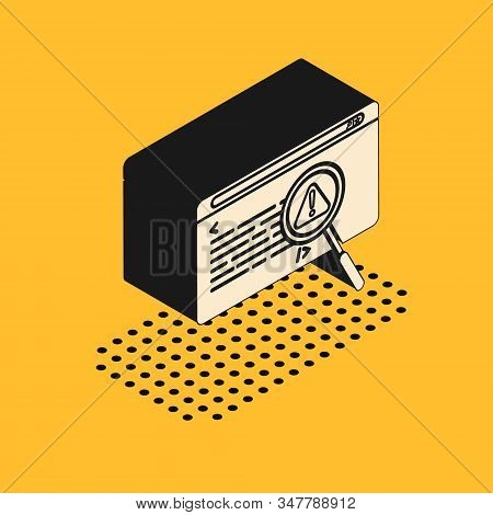 Isometric System Bug Concept Icon Isolated On Yellow Background. Code Bug Concept. Bug In The System