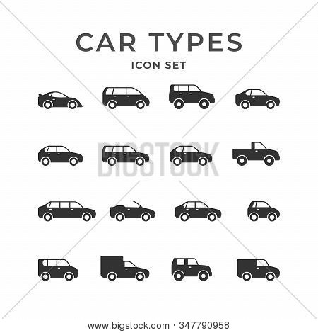 Set Glyph Icons Of Car Types Isolated On White. Limousine, Sedan, Sport Auto, Hatchback, Universal,