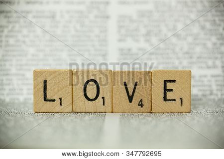 Scrabble Tiles Spell Out Love