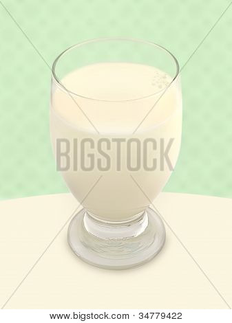 Glass Of Milk - Green Background