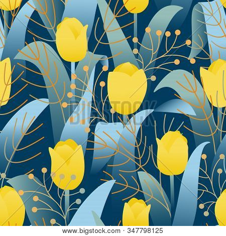 Design Template With Seamless Pattern Yellow Tulips On Dark Blue Background. Bright Yellow Tulip. Ju