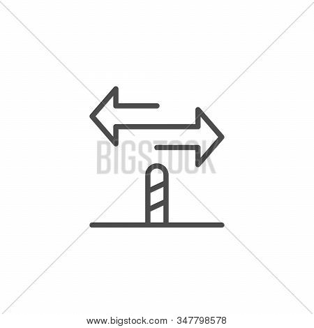 Directional Sign Line Outline Icon Isolated On White. Guidepost With Arrow. Road Navigation Element.