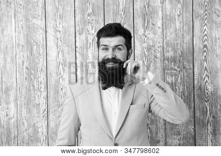 Beard And Mustache. Barber Shop Concept. Guy Well Groomed Handsome Bearded Hipster Wear Tuxedo. Gent