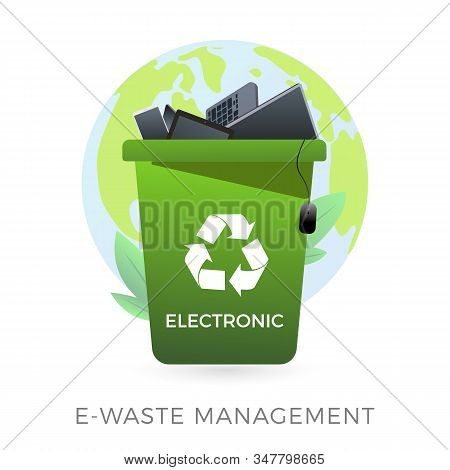 E-waste Management Concept - Waste Recycle Container Bin With Old Electronic Equipment - Laptop, Pho