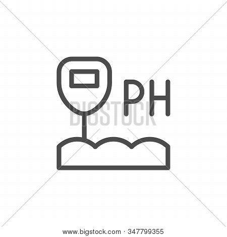 Soil Acidity Line Outline Icon Isolated On White. Equipment Of Indicator Ph. Acid, Pollution, Alkali