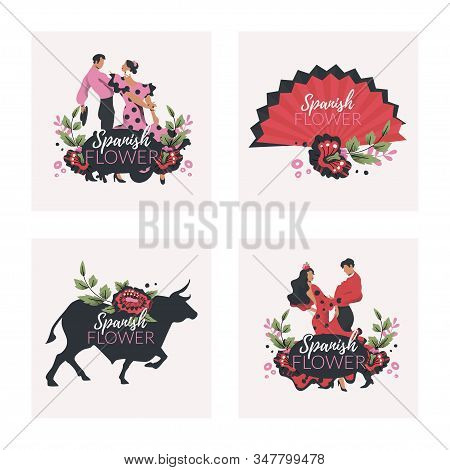 Spanish Flower Cards Vector Set With Flamenco Dancers, Bull Silhouette And Spanish Folding Fan.