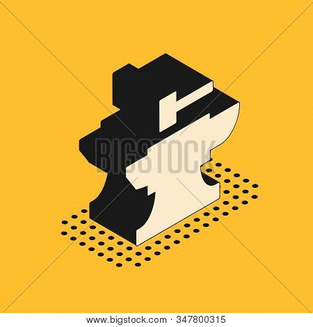 Isometric Anvil For Blacksmithing And Hammer Icon Isolated On Yellow Background. Metal Forging. Forg