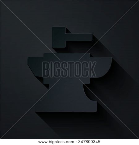 Paper Cut Anvil For Blacksmithing And Hammer Icon Isolated On Black Background. Metal Forging. Forge