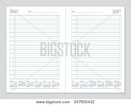 Datebook 2021. Diary 2021. Daily Planner 2021. Template Design Office Book To Every Day, Calendar