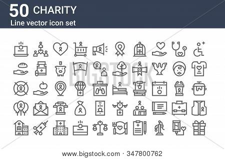 Set Of 50 Charity Icons. Outline Thin Line Icons Such As Gift, School, Balloons, Lifesaver, Donate,