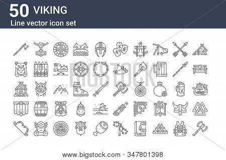 Set Of 50 Viking Icons. Outline Thin Line Icons Such As Axe, Bow, Skirt, House, Viking, Amulet