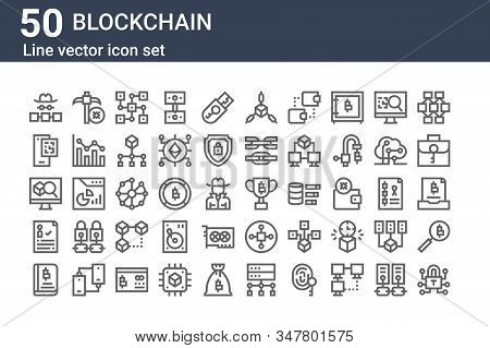 Set Of 50 Blockchain Icons. Outline Thin Line Icons Such As Lock, Book, Digital, Explorer, Qr Code,