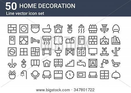 Set Of 50 Home Decoration Icons. Outline Thin Line Icons Such As Lamp, Plant, Chandelier, Washing Ma