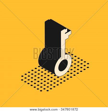 Isometric Old Key Icon Isolated On Yellow Background. Vector Illustration