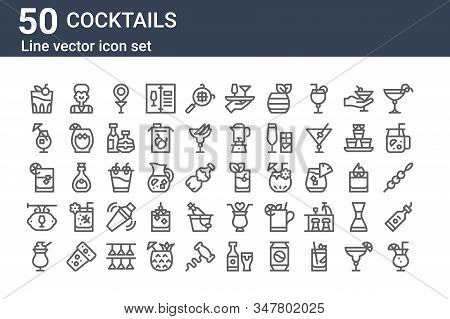 Set Of 50 Cocktails Icons. Outline Thin Line Icons Such As Cocktail, Cocktail, Bar, Whiskey On The R