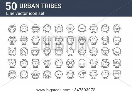 Set Of 50 Urban Tribes Icons. Outline Thin Line Icons Such As Otaku, Hippie, Furry, Furry, Cybergoth