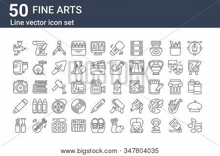 Set Of 50 Fine Arts Icons. Outline Thin Line Icons Such As Quaver, Modeling, Pencil, Camera, Film Ro