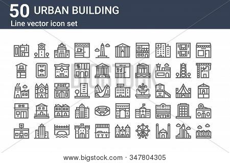 Set Of 50 Urban Building Icons. Outline Thin Line Icons Such As Community, Pharmacy, Gym, Factory, H