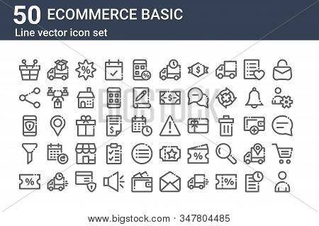 Set Of 50 Ecommerce Basic Icons. Outline Thin Line Icons Such As User, Discount, Filter, Mobile Secu