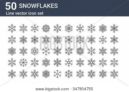 Set Of 50 Snowflakes Icons. Outline Thin Line Icons Such As Snowflake, Snowflake, Snowflake,