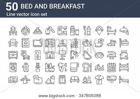 Set Of 50 Bed And Breakfast Icons. Outline Thin Line Icons Such As Bed, Id Card, Washing Machine, Cu