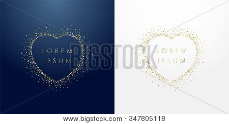 Golden Sparkling Ring Heart With Dust Glitter Graphic On Dark Blue And White Background. Glorious De