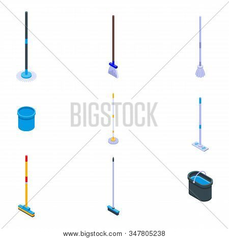Mop Icons Set. Isometric Set Of Mop Vector Icons For Web Design Isolated On White Background