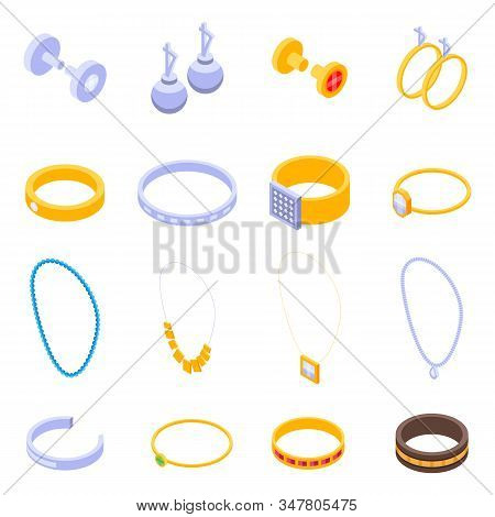 Jewellery Icons Set. Isometric Set Of Jewellery Vector Icons For Web Design Isolated On White Backgr